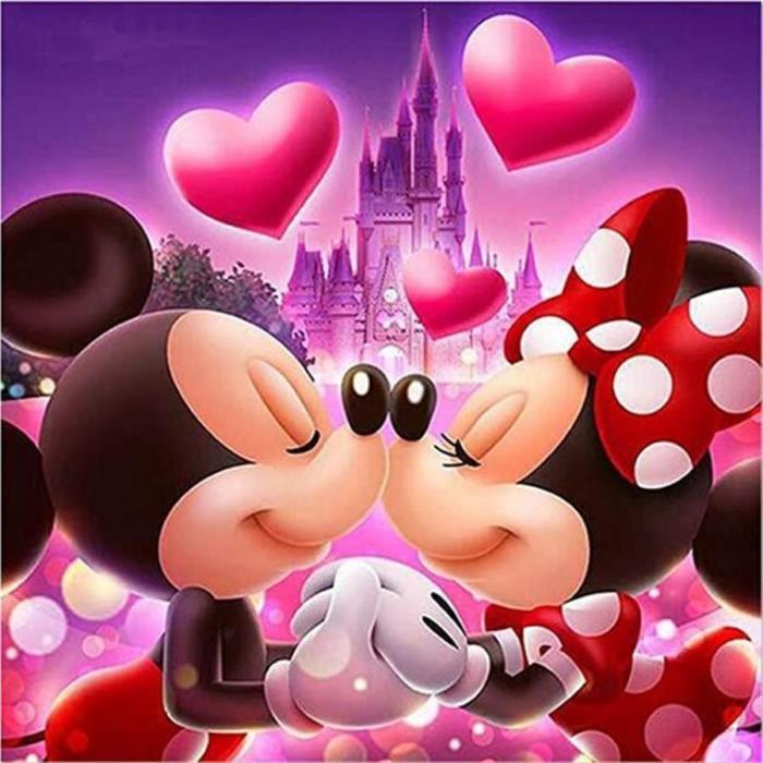 ZLB551 5D-DIY-Diamant Painting-Set-Disney-Mickey Minnie-Full Diamond-3D-Broderie-Mosaïque-Décoration Taille:40x50CM