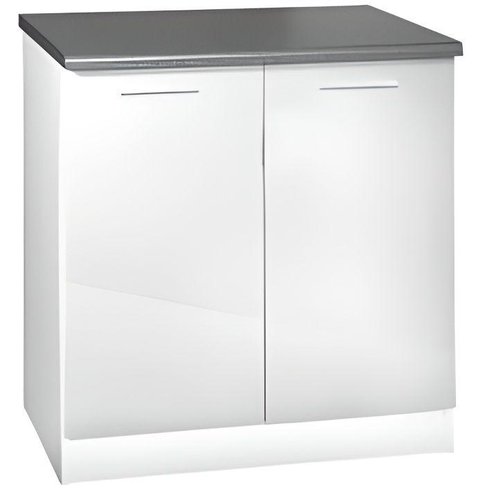 Meuble cuisine bas 80 cm 2 portes TARA blanc