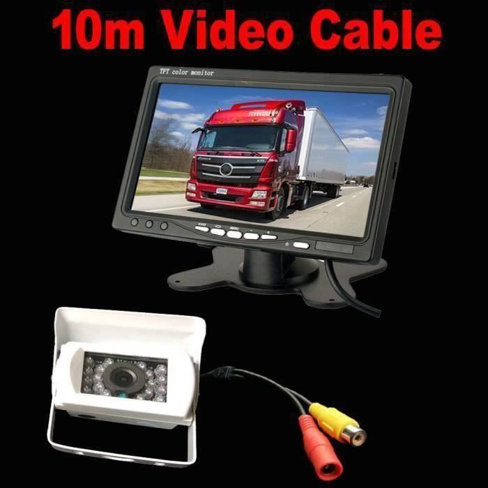 Caméra de Recul Blanc 7 pouces Moniteur LCD,18 LED IR Nocturne Vision Caméra Arrière Kit 10m Câble 12V-24V pour Bus Remorque L0C28