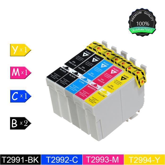 Lot de 5 pak (2noir 1cyan 1magenta 1jaune) Cartouches d'encre Couleurs T2991 T2994 compatible Expression Home Xp 235/Xp 330