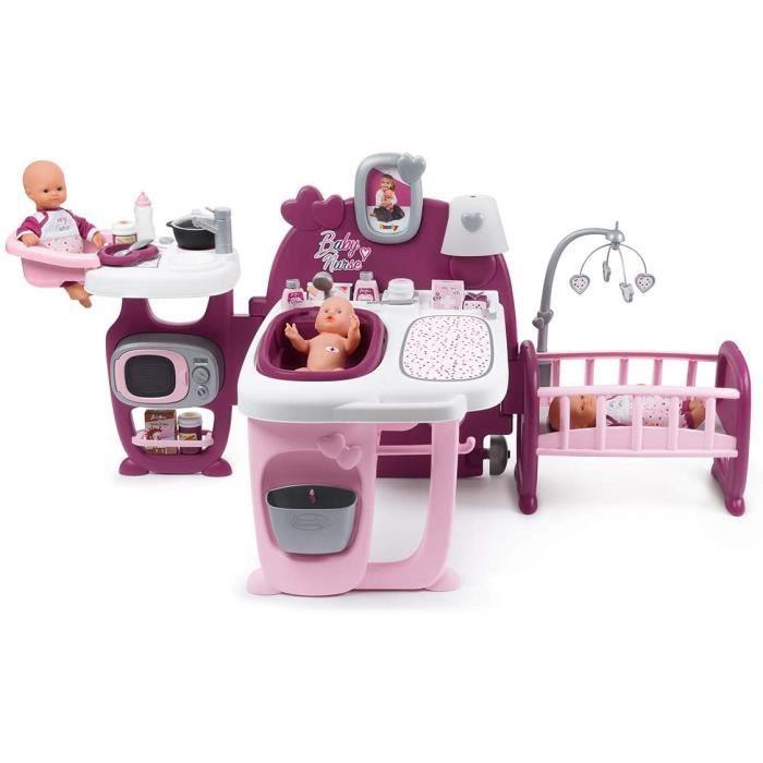 Smoby - Baby Nurse - Grande Maison des Bébés - Pour Poupons et Poupées - 3 espaces de Jeux - Cuisine + Salle de Bain + Chambre - 23
