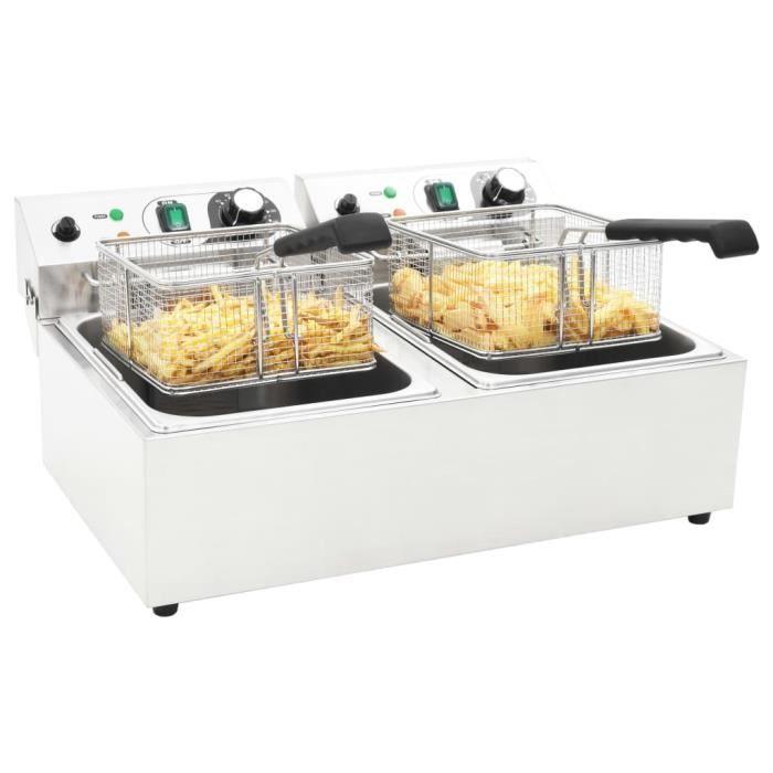 Friteuse électrique Double Professionnelle - 20 L 6000 W - Thermostat Réglable - En Inox - Blanc