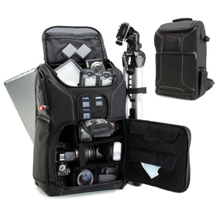 Housses et étuis pour appareils photo et caméscopes USA Gear Sac à Dos Appareil Photo Réflex Numérique avec Support Trép 5824