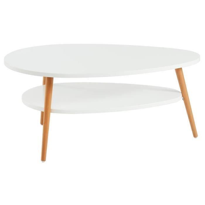 ligne table basse Superbe Table basse ovale Plateau MDF blanc laque mat