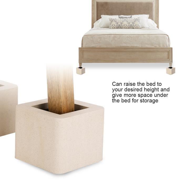 4pcs Rehausseurs de meubles pour chaise lit Réhausseurs de Meuble Réhausseur Pieds de Lit Réhausseurs de Lit HB046