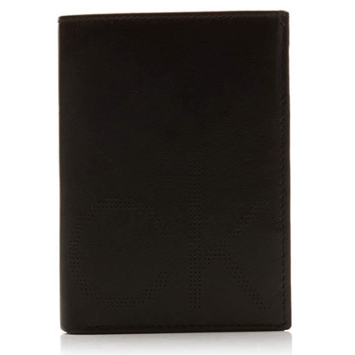 PORTEFEUILLE VERTICAL PETIT FORMAT POINT NS EN CUIR NOIR K50K503968 - CALVIN KLEIN Noir