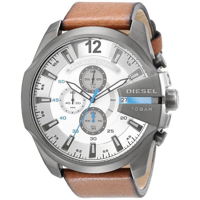 Montre Diesel Homme DZ4280 Chief Series Stainless Steel Watch - Montre à bracelet Cuir marron - à quartz montre