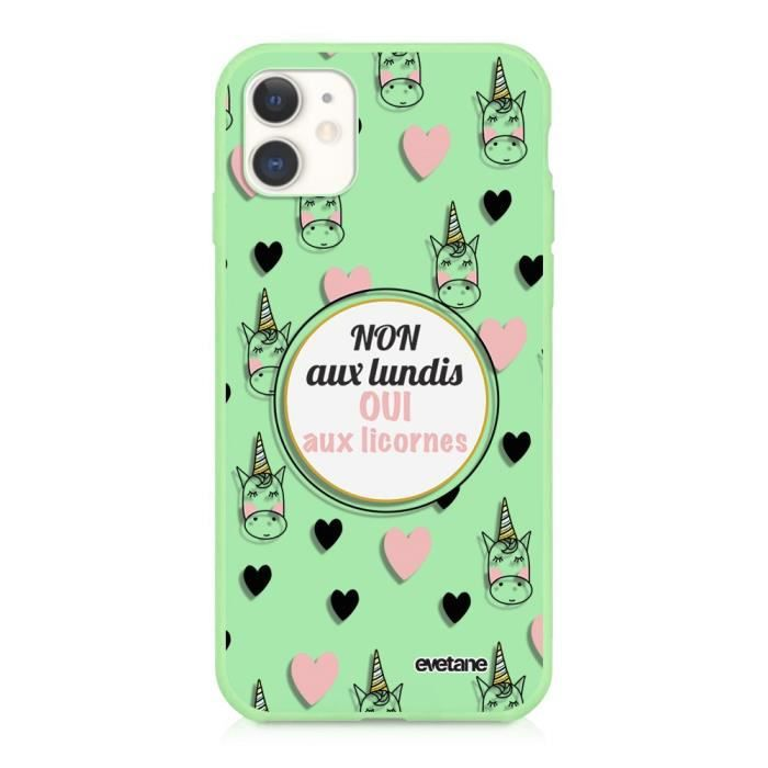 Coque iPhone 11 Silicone Liquide Douce vert pâle Oui aux licornes Ecriture Tendance et Design Evetane