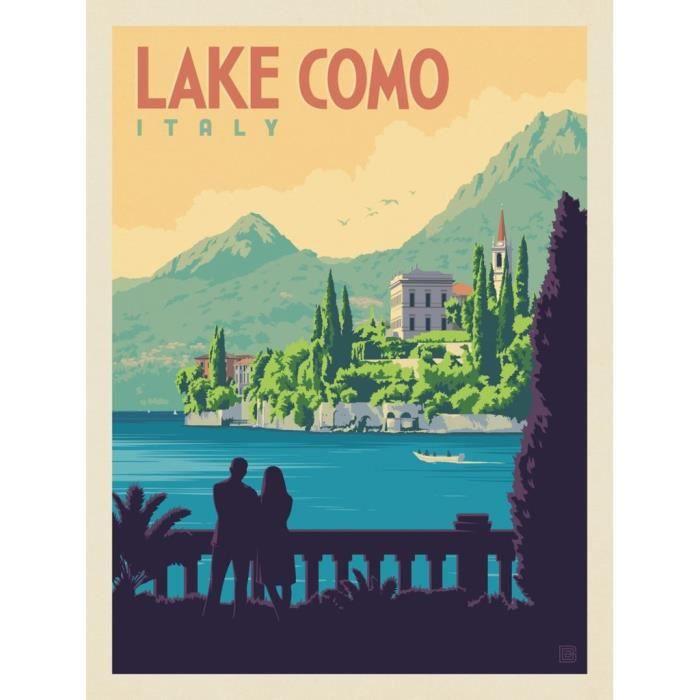Poster Affiche Lac de Come Italie Affiche Poster Vintage Voyage Art Deco 30's 31cm x 41cm