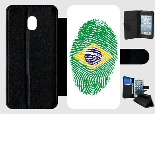 Etui a rabat - Plastique - Noir Samsung Galaxy J3 (2017) 60 EMPREINTE DIGITALE DRAPEAU BRESIL BRAZIL