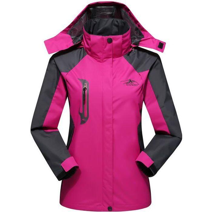 Veste Femme à capuche Jacket Veste randonnée trekking Mauntaineering coup vent imperméable parka Hiver Rose Waterproof HyVent