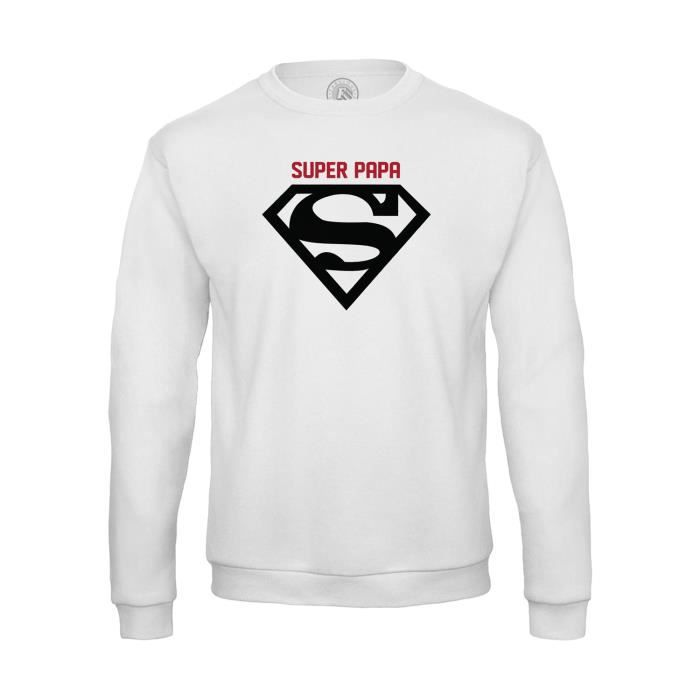 Sweat Shirt Homme Super Papa Rouge Logo Super Héro