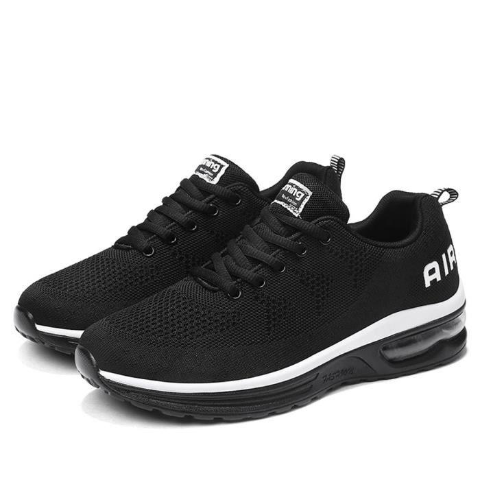 Hommes Chaussures de course athlétiques légères Respirant Sport Fitness Jogging Sneakers baskets Noir likai