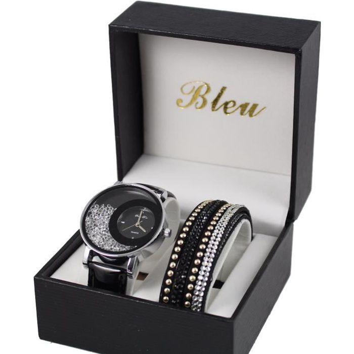 coffret montre femme cuir noir strass + bracelet double tour stardust dolce vita
