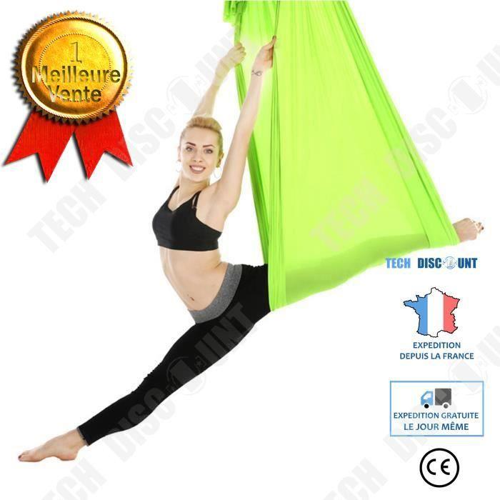 TD® Hamac de yoga Accessoire d'entraînement de fitness de swing de hamac de yoga aérien élastique durable de 2,8 m, vert