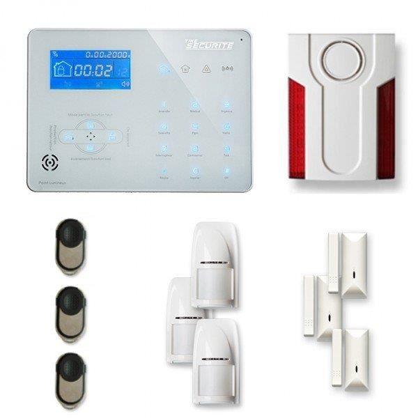 Alarme maison sans fil ICE-B 3 à 4 pièces mouvement + intrusion + sirène extérieure - Compatible Box
