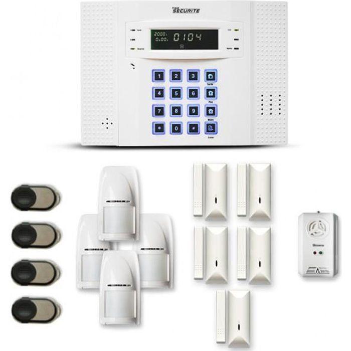 Alarme maison sans fil DNB 4 à 5 pièces mouvement + intrusion + détecteur gaz - Compatible Box / GSM