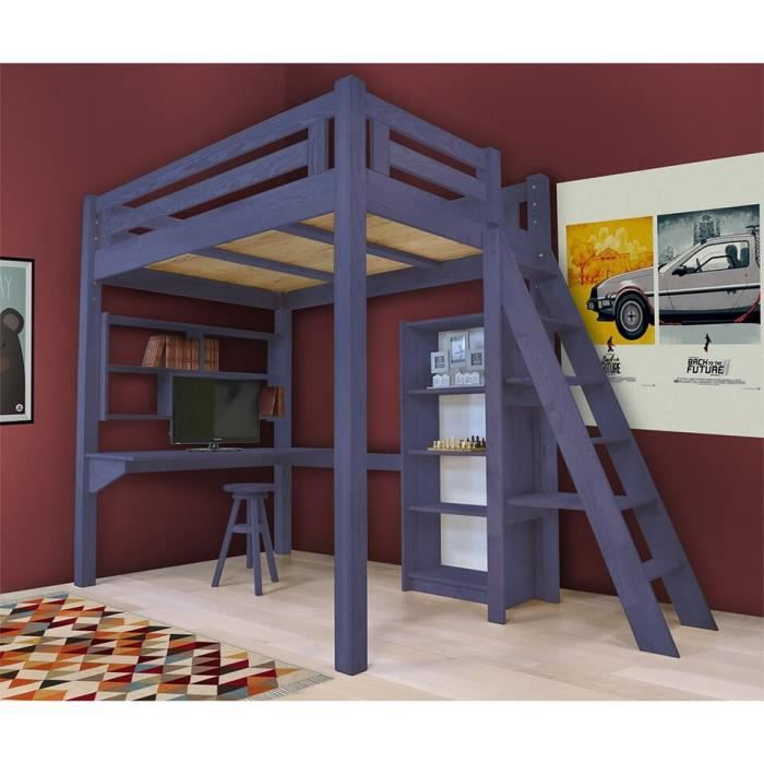 lit mezzanine alpage bois chelle hauteur r glable teint bleu fonc 160x200 achat. Black Bedroom Furniture Sets. Home Design Ideas