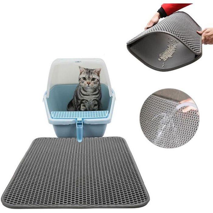 tapis litiere pour chat double couche pliable et d