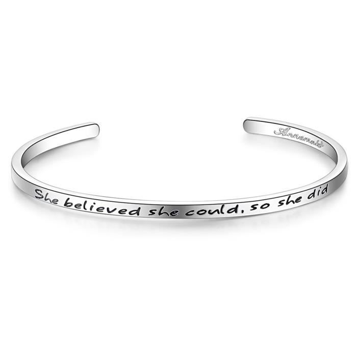 Womens Cuff Bangle Bracelet Engraved she Believed She Could, So She Did, Inspirational Jewelry WTQQE