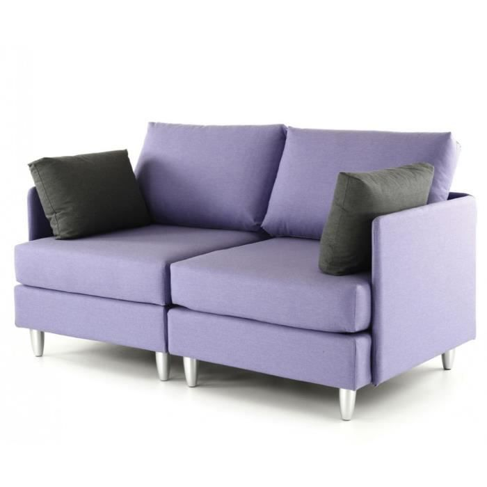 canap 2 places violet coussins gris leggos achat vente canap sofa divan cdiscount. Black Bedroom Furniture Sets. Home Design Ideas