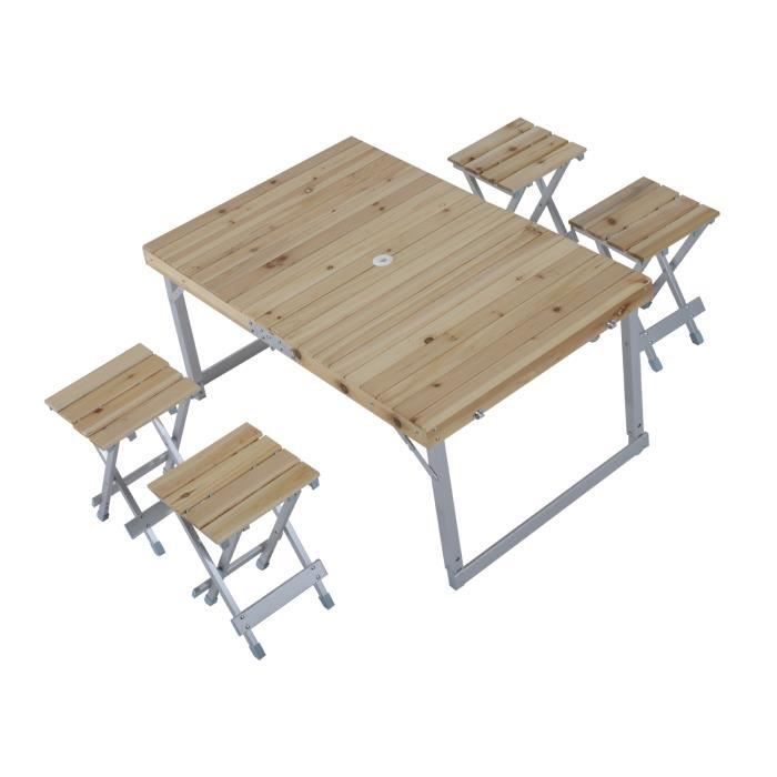 table de camping pique nique barbecue pliante portable hauteur r glable avec 4 tabourets valise. Black Bedroom Furniture Sets. Home Design Ideas