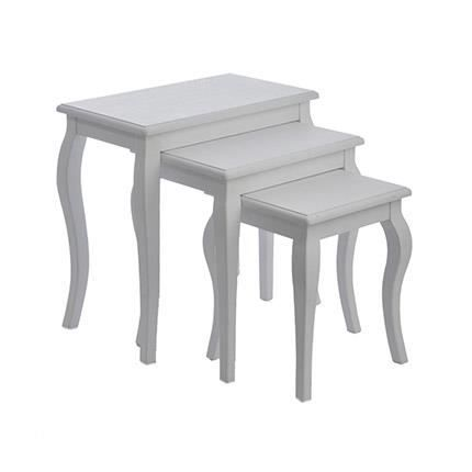 Table gigogne bois massif blanc achat vente table for Table gigogne