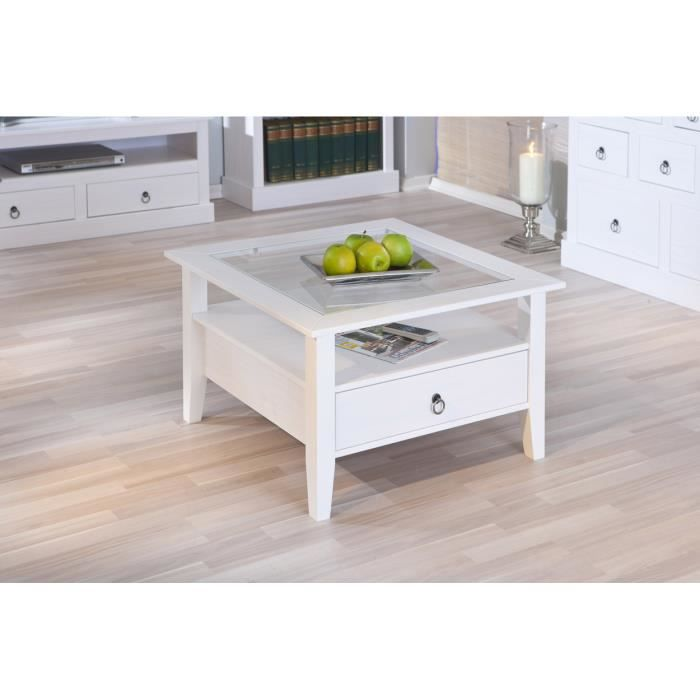 Table basse rustique en pin massif blanc achat vente for Table en pin massif