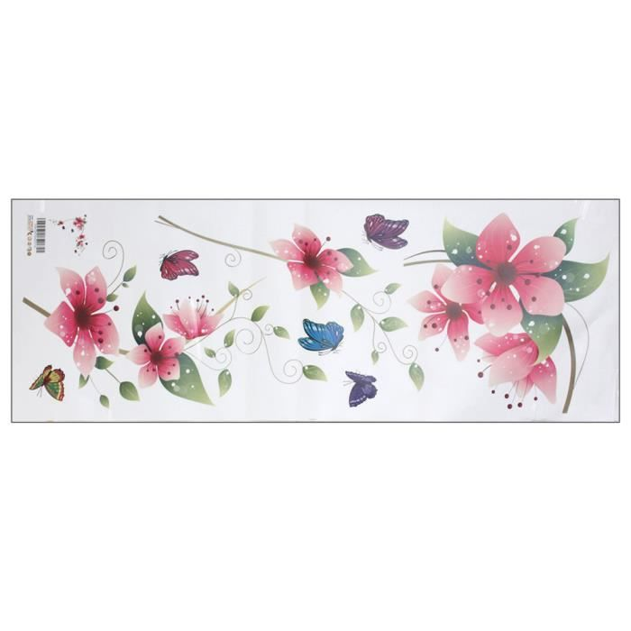 Sticker autocollant adh sif mural fen tre fleur papillon for Decoration adhesif fenetre