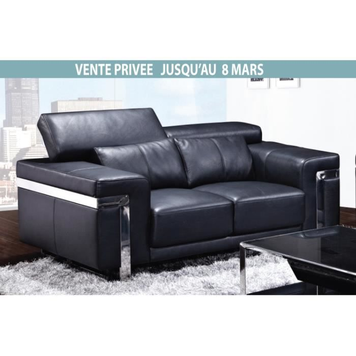 Canap 2 places en cuir italien astoria noir 2 places for Canape cuir qualite superieure