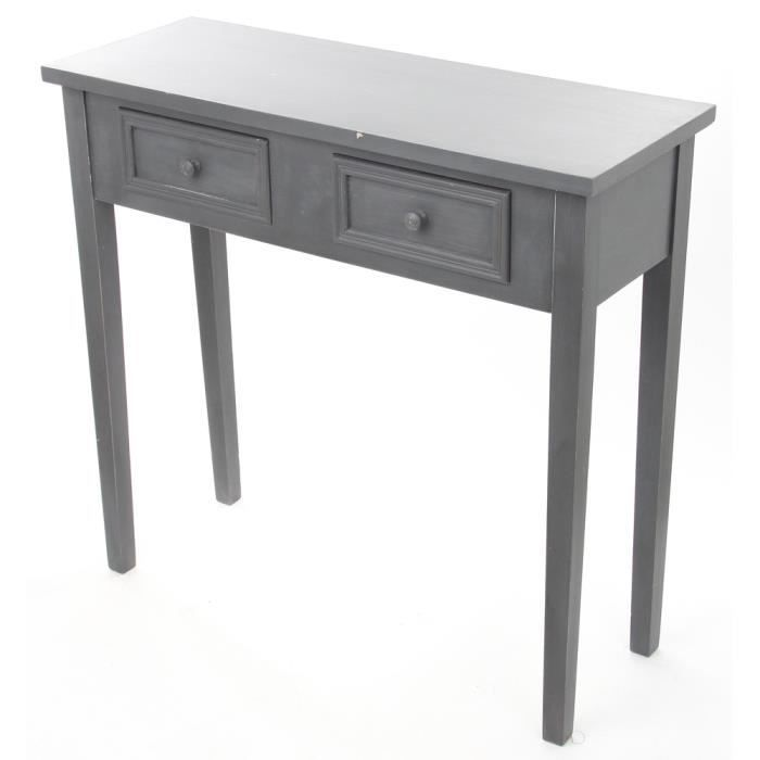 console 2 tiroirs gris felix longueur 80 x largeur 30 x hauteur 76 cm achat vente console. Black Bedroom Furniture Sets. Home Design Ideas