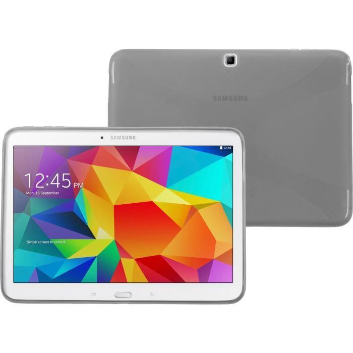 Coque en Silicone pour Samsung Galaxy Tab 4 10.1 - X-Style gris ...