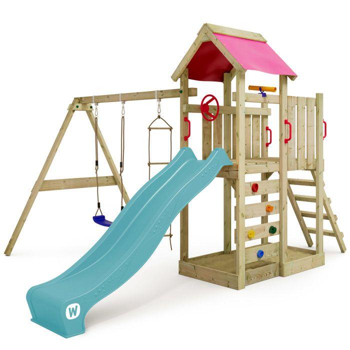 WICKEY FreshFlyer Aire de jeux Portique de jeux en bois avec balan/çoire et toboggan