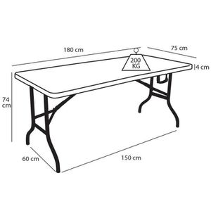 Table pliante 180 cm achat vente table pliante 180 cm for Table pied pliable