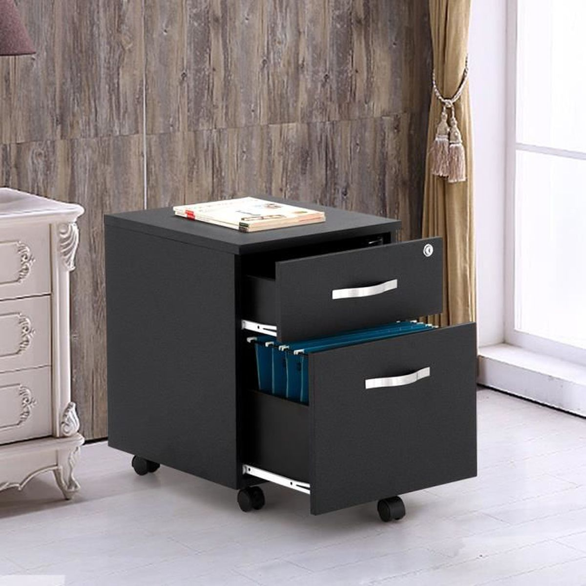 songmics mdf caisson de bureau caisson roulant armoires basses 2 tiroirs pour dossiers. Black Bedroom Furniture Sets. Home Design Ideas