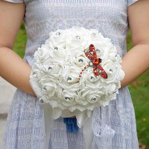 FLEUR ARTIFICIELLE BLANC 21cm bouquet de mariage pour mariee boule de