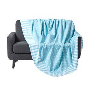 JETÉE DE LIT - BOUTIS Jeté de lit ou de canapé - Pois et rayures - Bleu