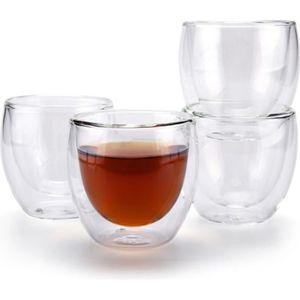 SERVICE À THÉ - CAFÉ T4U 80ML double paroi tasse à café en verre transp