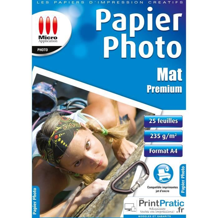 Pack 25 feuilles papier Photo Mat A4 Micro Application MA-5073