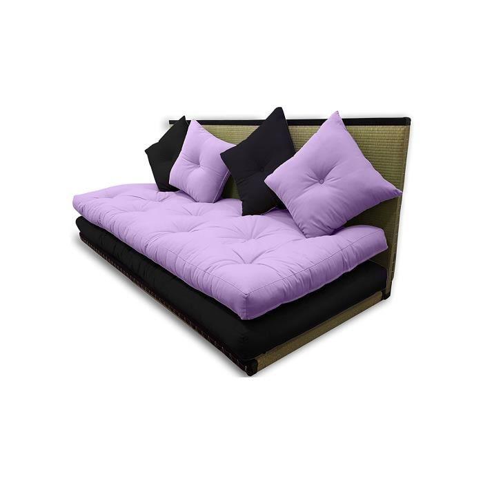 Canapé tatami Violet_Noir, 80 x 200 cm.