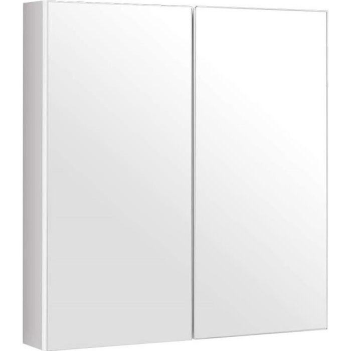DREAMADE Armoire Murale de Salle de Bain,Meuble de Rangement Toilettes en Bois avec Miroir,2 Etagères,pour WC,Toilettes Blanc