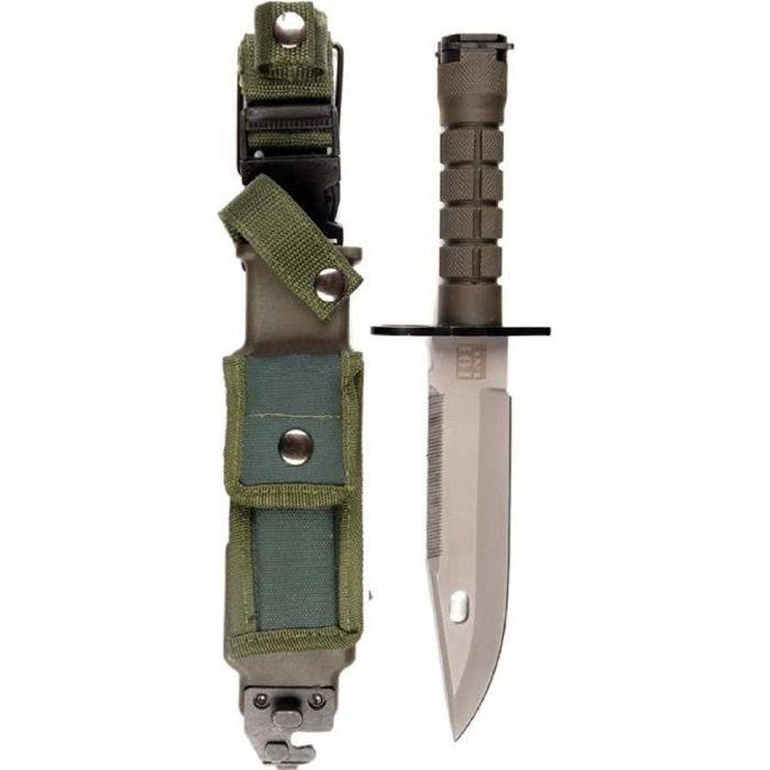 COUTEAU DE SURVIE / POIGNARD / BAIONETTE M9 US MILITARY VERT ETUI RIGIDE ET CLIP CEINTURE 101 INC
