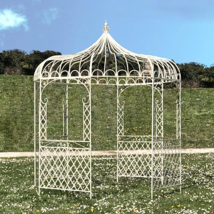 Gloriette Fer Jardin Tonnelle Pergola Fer Jardin Métal Blanche ø250 cm 14302-Pergola-Bis
