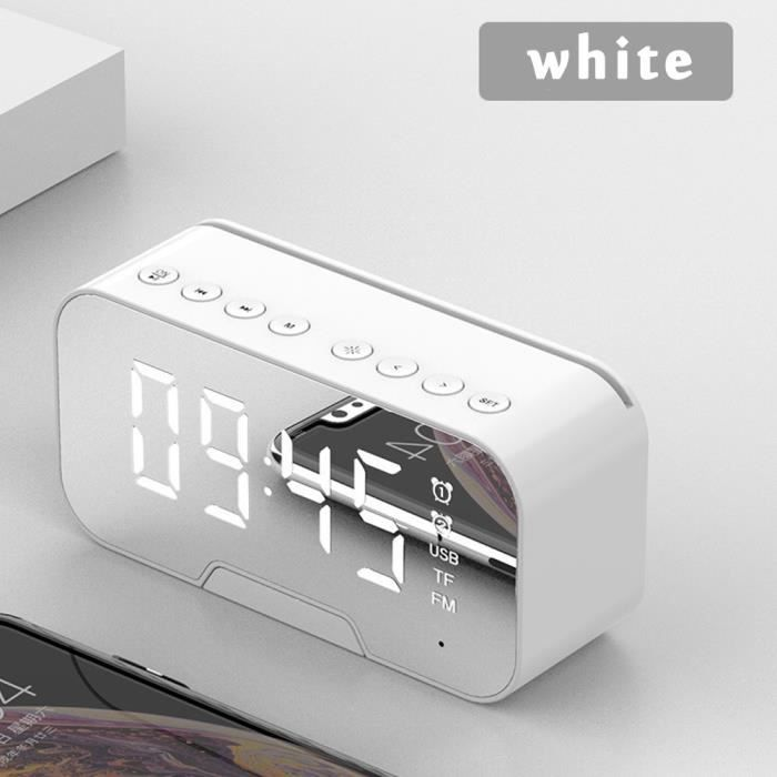 Réveil Blanc Numérique électronique Sans Fil Bluetooth Multifonction Réveil Miroir Lecteur De Musique