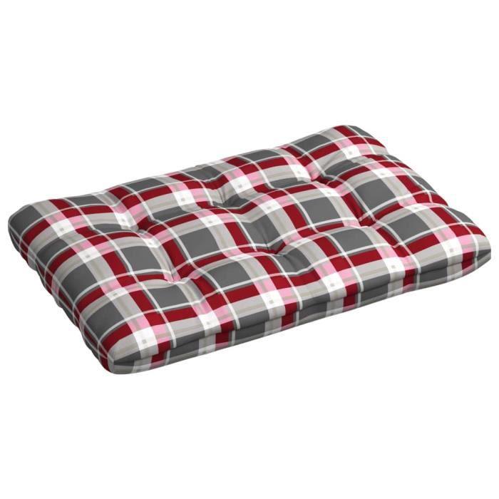 Coussin d'extérieur pour canapé palette Modèle à carreaux rouges 120x80x12 cm ®WTNKNT®