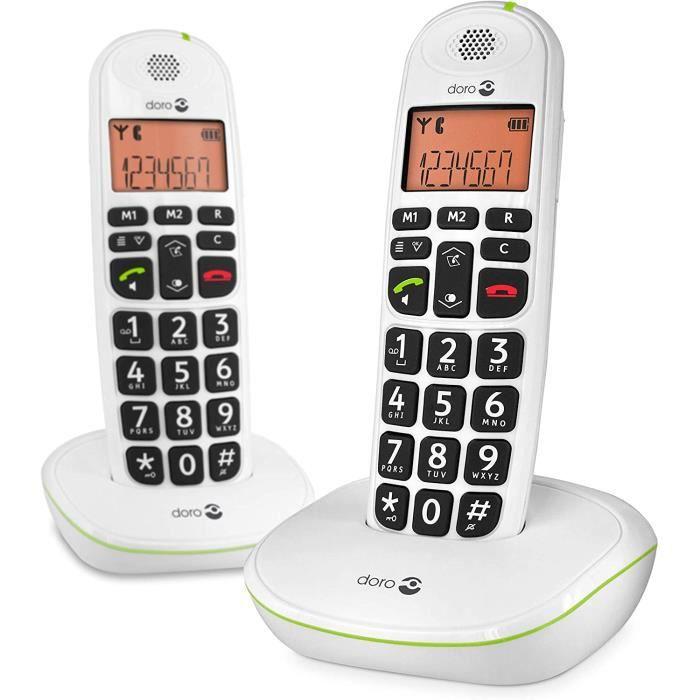 PhoneEasy 100w Téléphone sans Fil pour Seniors avec Grandes Touches et Son Amplifié (Blanc X 2)