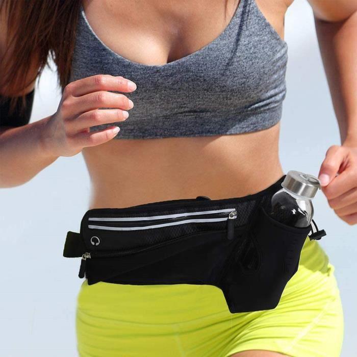 Ceinture de course Sport/ Voyage Running Belt avec deux compartiments pour ranger vos Casque à eau pour téléphone portable
