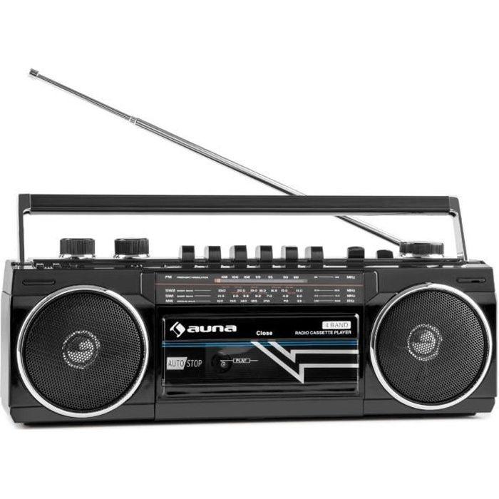 auna Duke Poste radio cassette portable rétro Ghettoblaster Bluetooth (USB ,SD MP3 , tuner FM , haut-parleurs stéréo) - noir