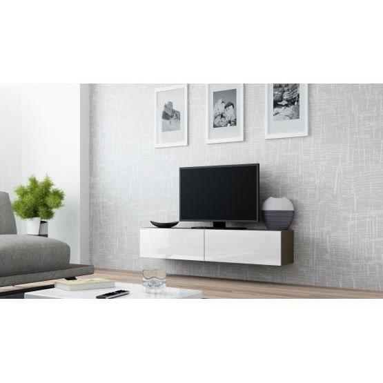 Meuble tv design suspendu Vito 140cm taupe et