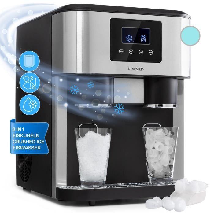 Klarstein Eiszeit Crush Machine à glaçons & glace pilée 18kg -24h - 2 tailles de cube - Réservoir 1,8l - Ecran LCD - Argent